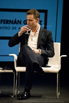 Tom Hiddleston | Times Talks Madrid on September 22, 2012. He even makes holding a glass and drinking water sexy.