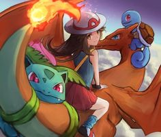 Leaf and her team heading off to SMASH (ippers) - PokeGals All Pokemon, Pokemon Games, Female Characters, Disney Characters, Fictional Characters, Flying Type, Pokemon Universe, Beautiful Dragon, Dragon Age