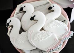 Swan cookies from Sweet Swan Themed Birthday Party at Kara's Party Ideas. See the details at karaspartyideas.com!