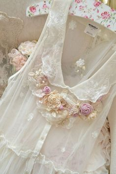 Hang Me Up...lace pink cream silk roses ribbons romantic girly feminine shabby chic blouse fashion