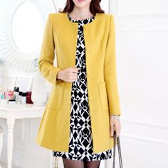 Solid Color Ladylike Style Slimming Single-Breasted Long Sleeves Worsted Coat For Women (YELLOW,M) | Sammydress.com