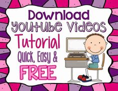 How to download youtube videos to your computer - quick, easy & FREE! Take time this summer to download your favorite educational videos for Back To School!