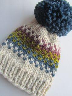 Artículos similares a Sombrero del Knit del punto justo de isla sombrero c213b49d450
