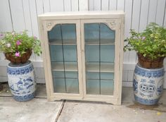 Vintage Painted Bookshelf Curio Cabinet by UptownHeirloomCo