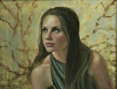 """""""Hopeful""""  this portrait is painted with oil and genuine silver leaf. #gilded portrait  #portrait commissions"""