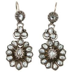 Rose Cut Diamond Victorian Earrings | From a unique collection of vintage dangle earrings at https://www.1stdibs.com/jewelry/earrings/dangle-earrings/
