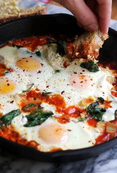Sicilian Baked Eggs with Artichokes, Burrata, Spinach, and Spicy Tomato Sauce | Joanne Eats Well With Others