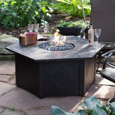 Uniflame 55 In Hexagon Slate Lp Fire Pit Table