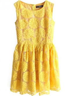 Yellow Sunflower Embroidered Dress
