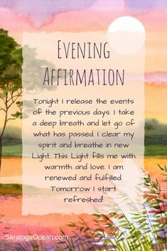 This is a great affirmation to clear your energy in the evening before you go to bed. Have a relaxed peaceful night and a restful sleep! Positive Affirmations Quotes, Morning Affirmations, Affirmation Quotes, Positive Quotes, Positive Vibes, Motivational Quotes, Inspirational Quotes, Evening Quotes, Sleep Quotes