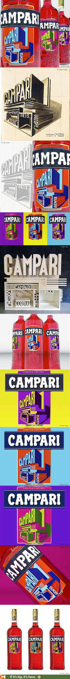 This year's Campari Art Labels - an ongoing project since 2010 - feature modernized versions of the legendary Italian Futurist Fortunato Depero's original design for the 1933 Campari Pavilion created for an expo in Milan.