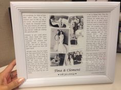 A DIY I made for the bride after the wedding. I was a bridesmaid and put my speech from the wedding in a photo frame. Makes a thoughtful and cute gift!