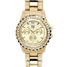 cream diamante detail round bracelet watch - watches - women - River Island