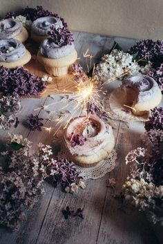 Lilac purple cupcakes with sparkler instead of candle