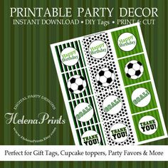 Soccer cupcake toppers favor tags soccer party by HelenaPrints