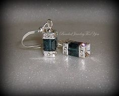 Montana Blue Swarovski Crystal Cube Earrings
