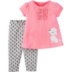 4f45f2b562a Child of Mine by Carter s - Newborn Baby Girl Shirt and Pant 2 Piece Set -  Walmart.com