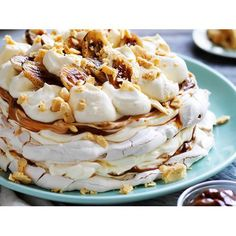 Banoffee meringue with honeycomb recipe - By Australian Women's Weekly, One look at this creation will have your guests oohing and ahhing in admiration. One taste and they'll be begging you for the recipe.
