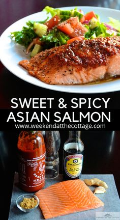 This easy salmon recipe is only 6 ingredients: garlic ginger Sriracha sauce soy sauce black pepper and dark brown sugar. Bake for 10 minutes and dinner is ready. Keep it simple and serve with a side salad and rice. Asian Fish Recipes, Baked Salmon Recipes, Seafood Recipes, Cooking Recipes, Healthy Recipes, Salmon Salad Recipes, Sushi Recipes, Spicy Recipes, Vegetarian Recipes