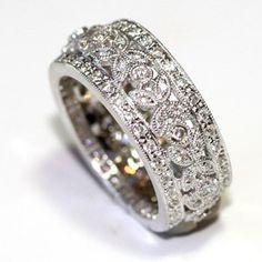 Wide Designer Diamond Wedding Band Vintage Pave Milgrain 1 08 Ct WB8271 | eBay