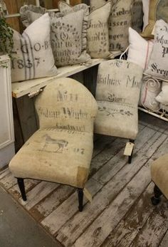 Willow Decor: 3 Fine Grains - High-End Antique Originals. Love this with old feed-sacks.