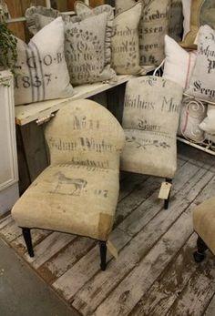 willow decor, info about grain sack fabrics...