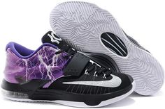 online store d4ec0 d9d14 Nike KD 7 Struck By Lightning Purple Custom Shoes Kevin Durant 7, Kevin  Durant Shoes