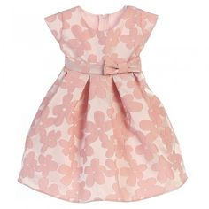 a86d3dccb143 Sweet Kids Baby Girls Pink Raised Daisy Jacquard Bow Easter Dress 9-24M