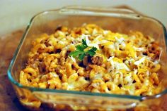 Preacher Macaroni Casserole  ------  a family-favorite casserole made with macaroni, ground beef, onion, celery, mushroom soup, tomato soup, and seasonings.
