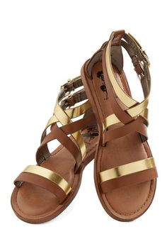 Brandish Your Brilliance Sandal - Flat, Faux Leather, Brown, Gold, Festival, Summer