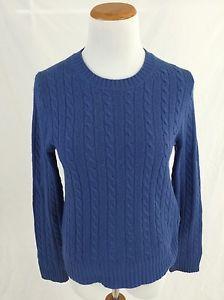 J Crew Blue Cashmere Blend Cableknit Crewneck Sweater Women's M | eBay