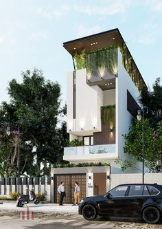 NHÀ NƠI PHỐ THỊ Modern Exterior, Exterior Design, House Construction Plan, Affordable House Plans, Small House Exteriors, Brick Architecture, Narrow House, Street House, House Elevation