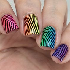 Rainbow, psychedelic, stripes, stamping, black,