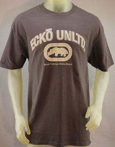 Ecko Unlimited coffee brown men's T-shirt with tan lettering