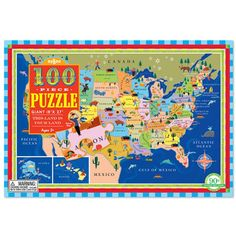 Hey, This Land is Your Land, let's learn about the USA putting this 100 pc jigsaw together! Manufactured by eeBoo. Recommended for 5 years, 6 years, 7 years.