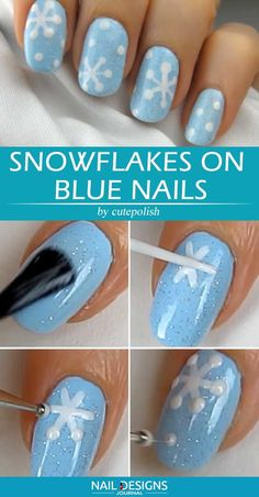 Snowflake Nail Art For Christmas Sweet And Simple Snowflake Nails Design . Blue Nail Designs, Winter Nail Designs, Simple Nail Designs, Acrylic Nail Designs, Snowflake Nail Design, Snowflake Nails, Simple Snowflake, Summer Gel Nails, Spring Nail Trends