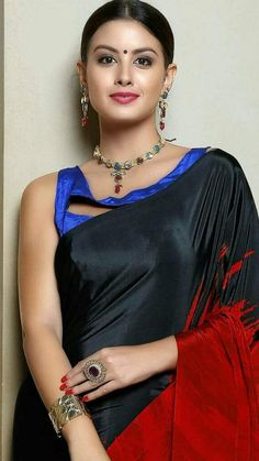 Beauty in red-black saree and blue stylish blouse Beautiful Girl Indian, Beautiful Saree, Beautiful Indian Actress, Indian Blouse, Indian Sarees, Indian Bollywood, Indian Wear, Indian Attire, Beauty Full Girl