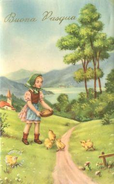 1955 – BUONA PASQUA – HAPPY EASTER  auguri, best wishes, Easter, Pasqua, postcard, religione, vintage