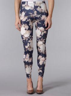 navy floral print leggings