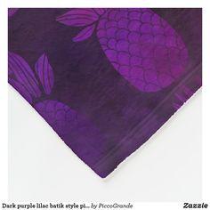 Dark purple lilac batik style pineapple pattern fleece blanket Purple Accents, Purple Lilac, Dark Purple, Personalized Buttons, Batik Pattern, Pineapple Pattern, Home Decor Online, Edge Stitch, Watercolor Pattern