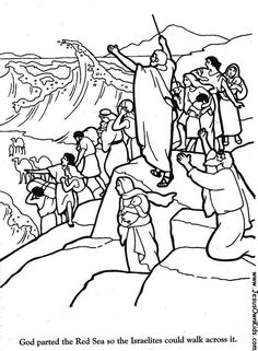 moses red sea crossing coloring pages | 1000+ images about Bible OT: Crossing the Red Sea on ...