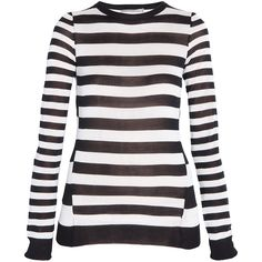 JASON WU Silk Knit Stripe Sweater (2.160 BRL) ❤ liked on Polyvore featuring tops, sweaters, shirts, striped, black and white shirt, black and white stripe shirt, black and white stripe sweater, nautical striped shirt and nautical shirts