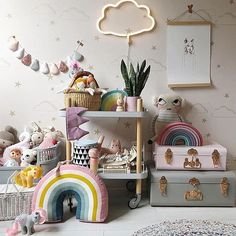 Happy New Week! Lots of pastels happening today, the best way to start a new week sewing your beautiful orders- lots of ice cream garlands… Nursery Room, Baby Room, Nursery Decor, Deco Kids, Rainbow Room, Home And Deco, Little Girl Rooms, Kid Spaces, Kid Beds