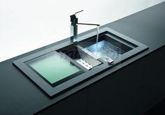 Zlewozmywak granitowy Domus D-150 z dodatkowymi akcesoriami: stalową wkładką i szklaną deską, Schock