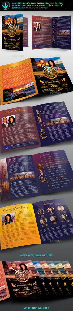Crimson Gold plus Black Anniversary Program Template Program - event program template