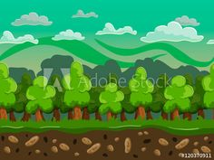 Materiał do szycia Vector cartoon forest seamless horizontal landscape Pop Up, Cartoon, Landscape, Illustration, Pictures, Photos, Scenery, Popup, Illustrations