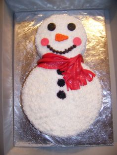 Snowman cake... This would b fun to make with kids on a snow day :)