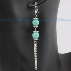 Tibet Silver Pattern Round Turquoise beads Chains Tassel Hook Dangle  Earrings