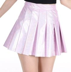 Image of Made To Order - Baby Pink Hologram Pleated Skirt
