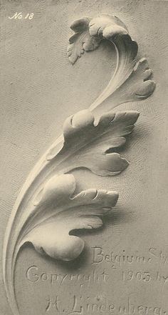 The Acanthus leaf applied to the various styles by Herman Lindenberg Plaster Sculpture, Plaster Art, Wall Sculptures, Sculpture Art, Angel Sculpture, Stone Carving, Wood Carving, Baroque Frame, Ornament Drawing